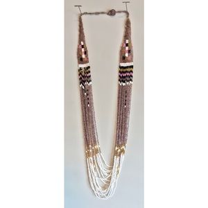 Vintage Long Beaded Tribal Design Necklace
